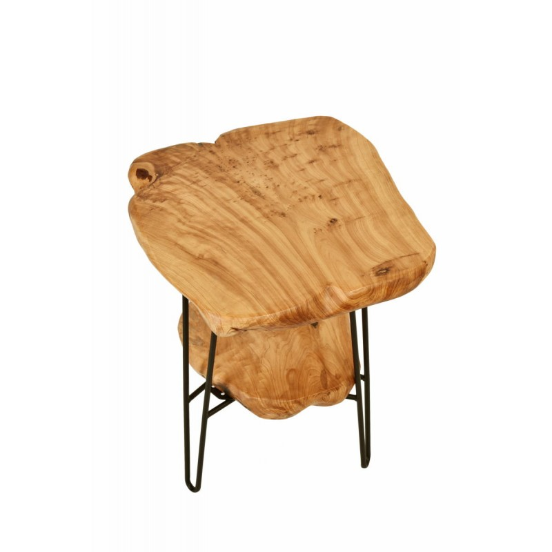 Side table double trays, side table MYRIAMME metal and cedar wood (natural) - image 42726