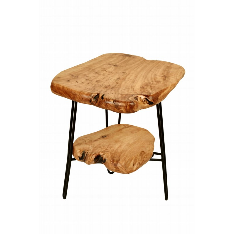Side table double trays, side table MYRIAMME metal and cedar wood (natural) - image 42729