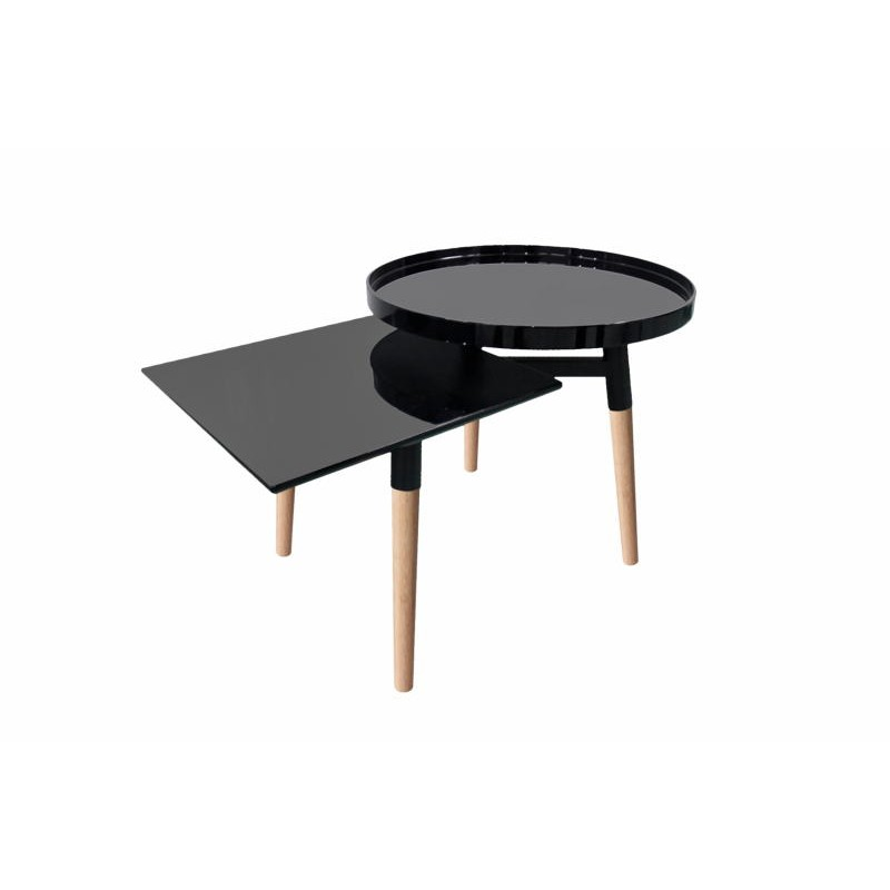 Side table 2 trays, side table EMILIE in metal and wood (black) - image 42745