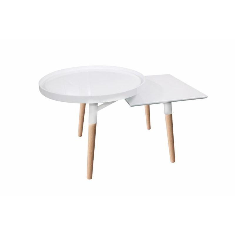 Side table 2 trays, side table EMILIE in metal and wood (white)