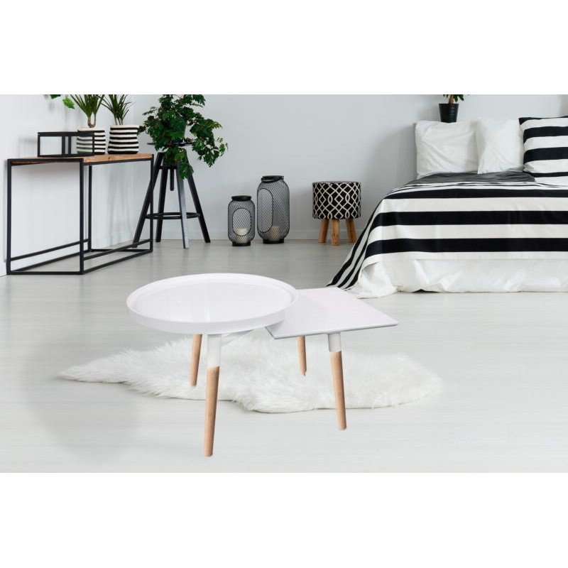Side table 2 trays, side table EMILIE in metal and wood (white) - image 42752