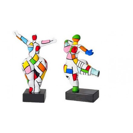 Set di 2 statue sculture decorative disegno COUPLE in resina H34 (multicolore)