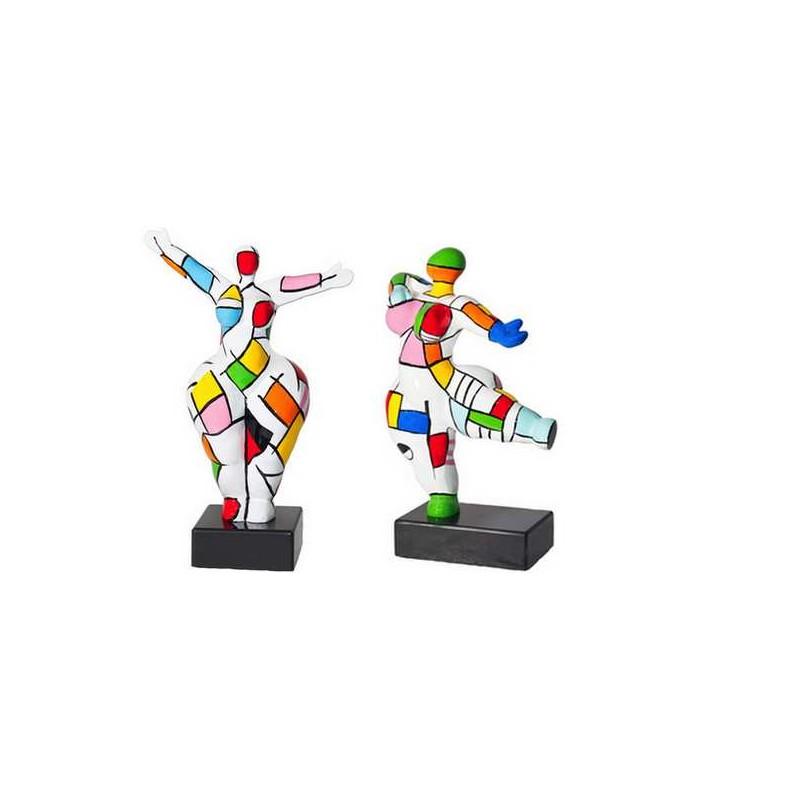 Set di 2 statue sculture decorative disegno COUPLE in resina H34 (multicolore)