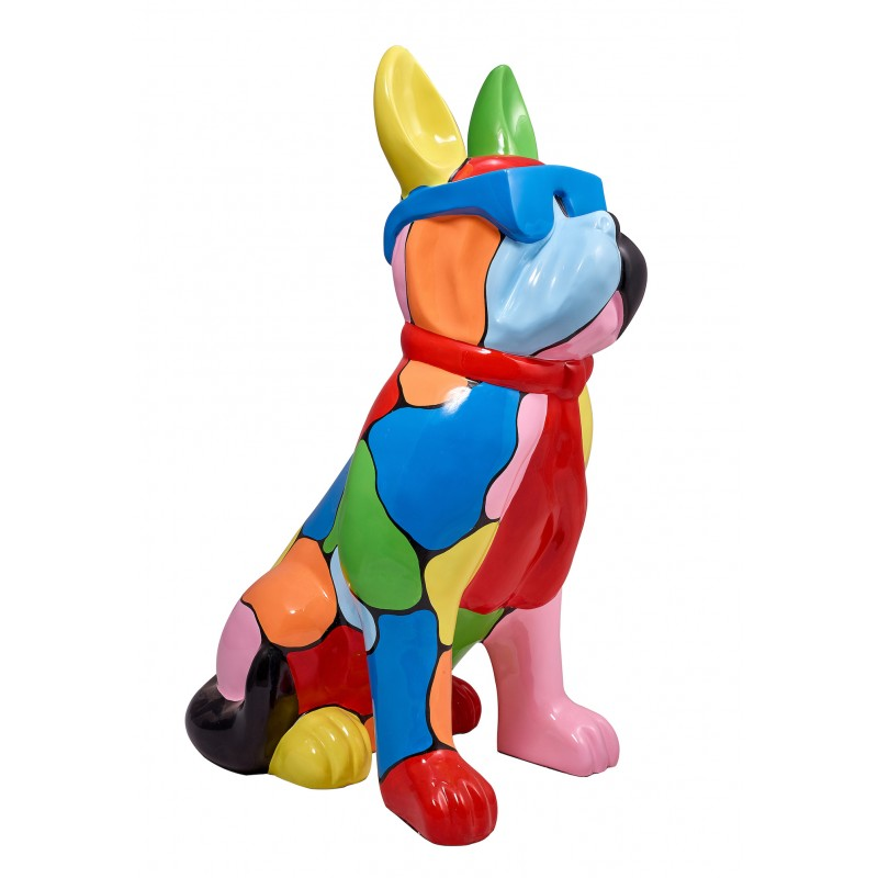 Resin statue sculpture decorative design dog A glasses standing H102 (multicolor) - image 42879