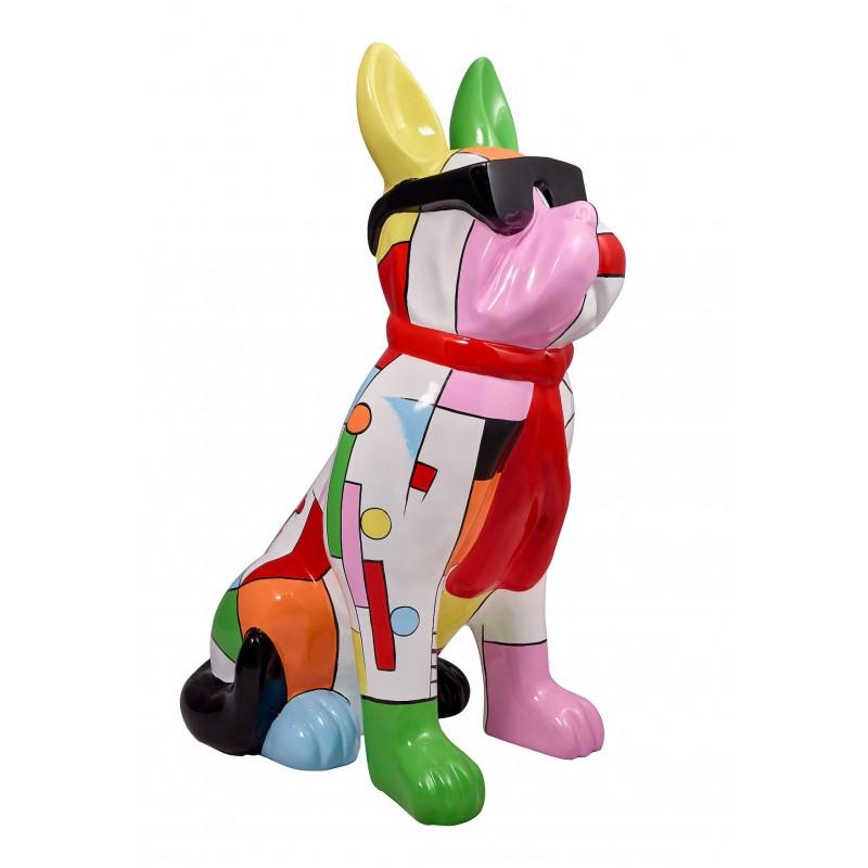 Perro de diseño decorativo de la escultura de resina estatua permanente H102 (multicolor)