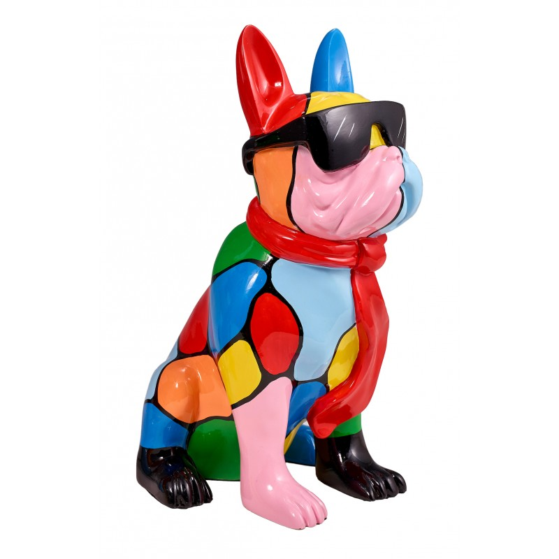 Resin statue sculpture decorative design dog A SUNGLASSES stand H36 (multicolor) - image 42884