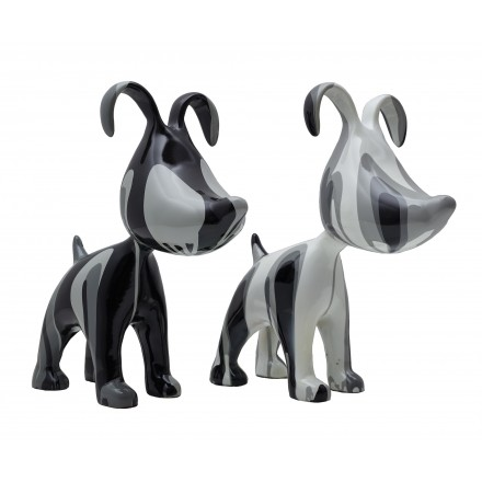 Set of 2 COUPLE of dogs design sculptures in resin H38 (gray)