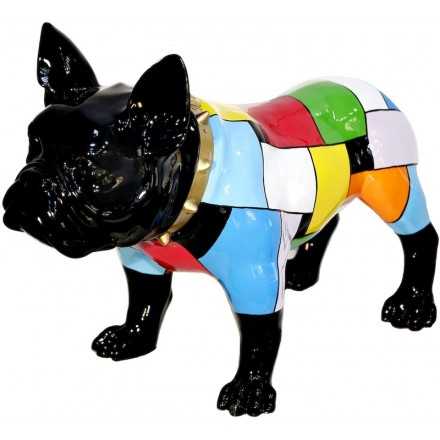 Statua di ARLEQUIN BULLDOG scultura decorativa in resina H36 cm (multicolor)