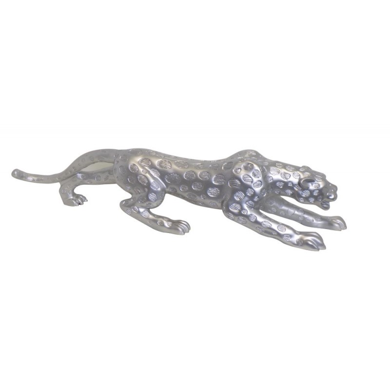 Statue decorative sculpture design pregnant Bluetooth LEOPARD in resin (Silver)