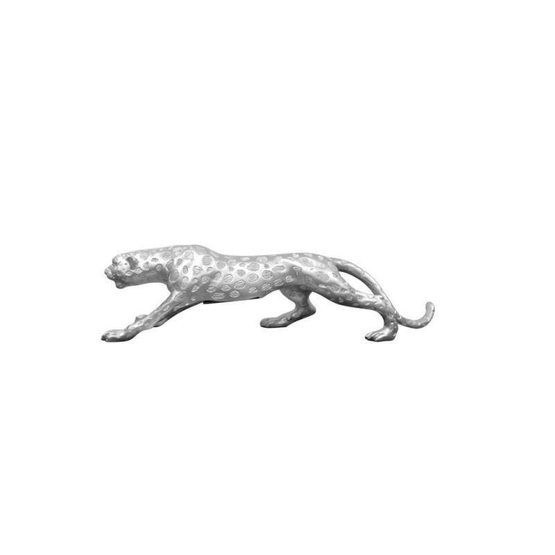 Statua disegno scultura decorativa incinta Bluetooth LEOPARD XL resina (argento) - image 43080