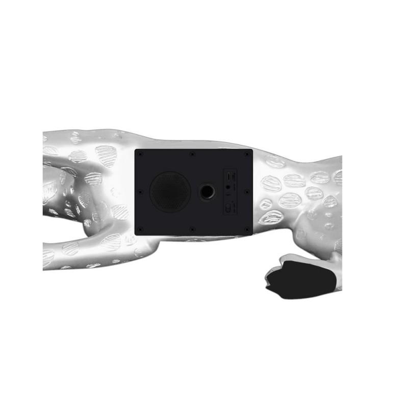 Statua disegno scultura decorativa incinta Bluetooth LEOPARD XL resina (argento) - image 43084