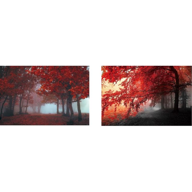 Lot de 2 Tableaux sur verre ARBRE (90 x 60 cm) (rouge)