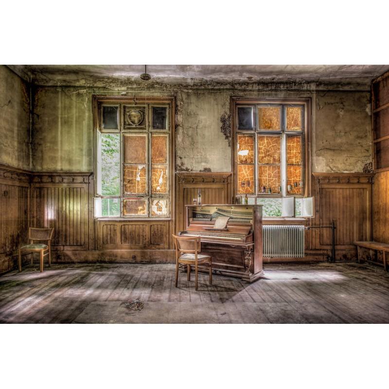 Tavolo su vetro PIANO VINTAGE (120x80 cm) (marrone) - image 43100