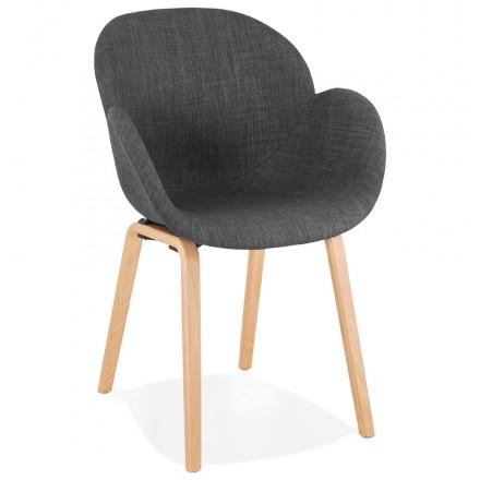 Sedia di design scandinavo con braccioli CALLA in tessuto naturale per piedi (grigio antracite)