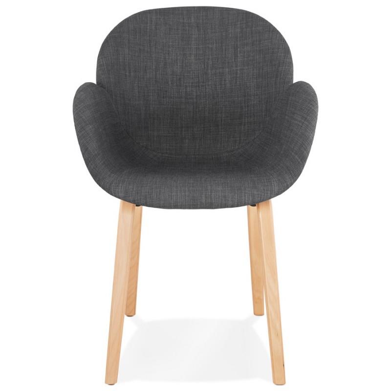 Chaise design scandinave avec accoudoirs CALLA en tissu pieds couleur naturelle (gris anthracite) - image 43107