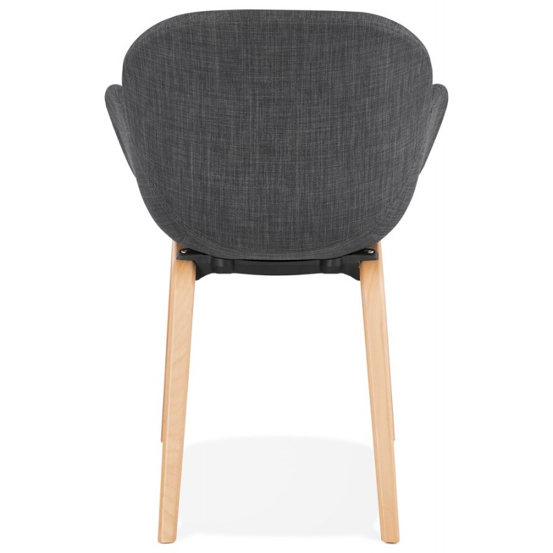 Scandinavian design chair with CALLA armrests in natural-coloured foot fabric (anthracite grey) - image 43110
