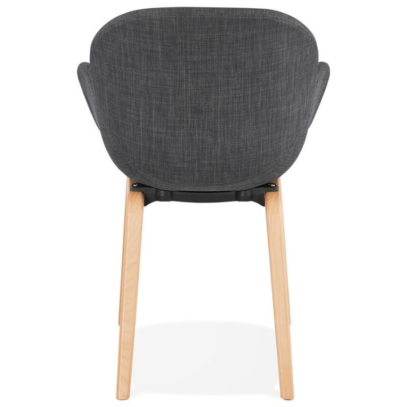 Chaise design scandinave avec accoudoirs CALLA en tissu pieds couleur naturelle (gris anthracite) - image 43110