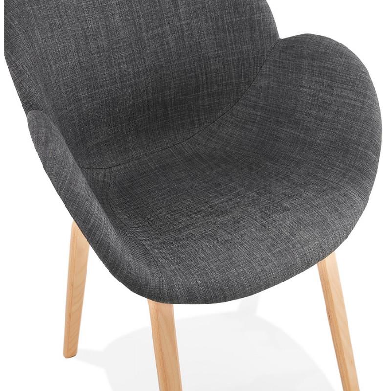 Sedia di design scandinavo con braccioli CALLA in tessuto naturale per piedi (grigio antracite) - image 43111