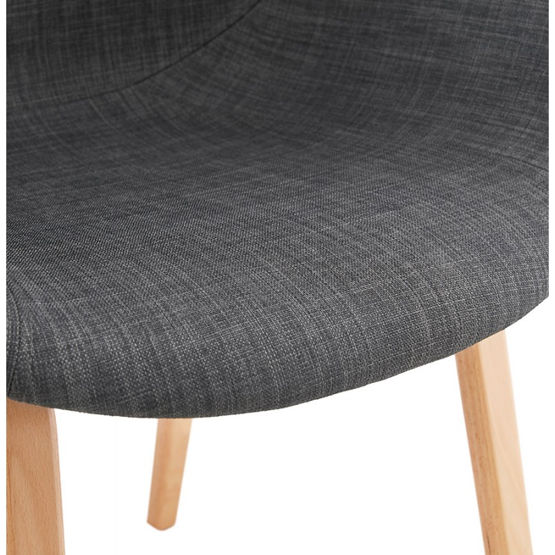 Scandinavian design chair with CALLA armrests in natural-coloured foot fabric (anthracite grey) - image 43112