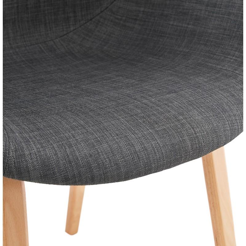 Chaise design scandinave avec accoudoirs CALLA en tissu pieds couleur naturelle (gris anthracite) - image 43112