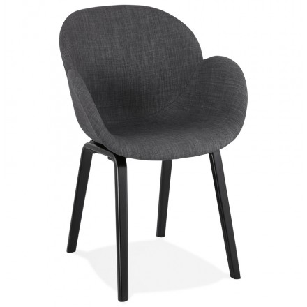 Scandinavian design chair with CALLA armrests in black foot fabric (anthracite grey)