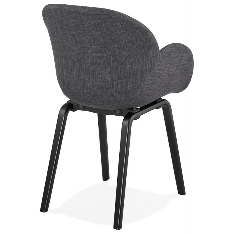 Scandinavian design chair with CALLA armrests in black foot fabric (anthracite grey) - image 43123