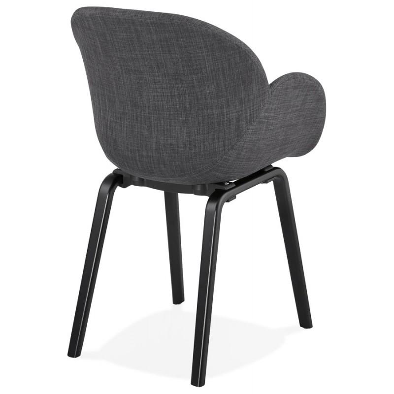 Chaise design scandinave avec accoudoirs CALLA en tissu pieds couleur noire (gris anthracite) - image 43123