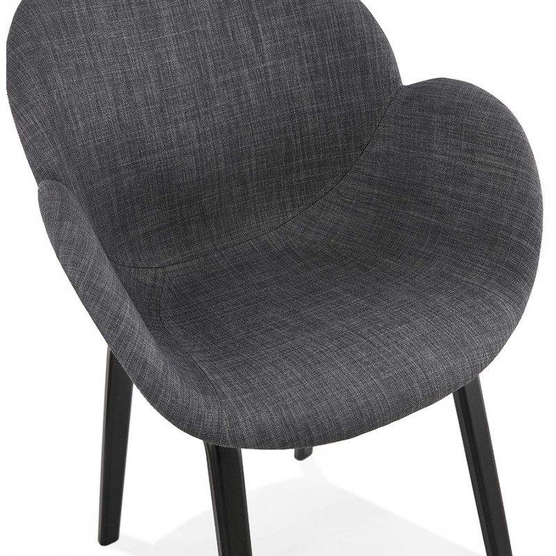 Scandinavian design chair with CALLA armrests in black foot fabric (anthracite grey) - image 43126