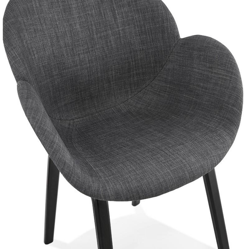Chaise design scandinave avec accoudoirs CALLA en tissu pieds couleur noire (gris anthracite) - image 43126