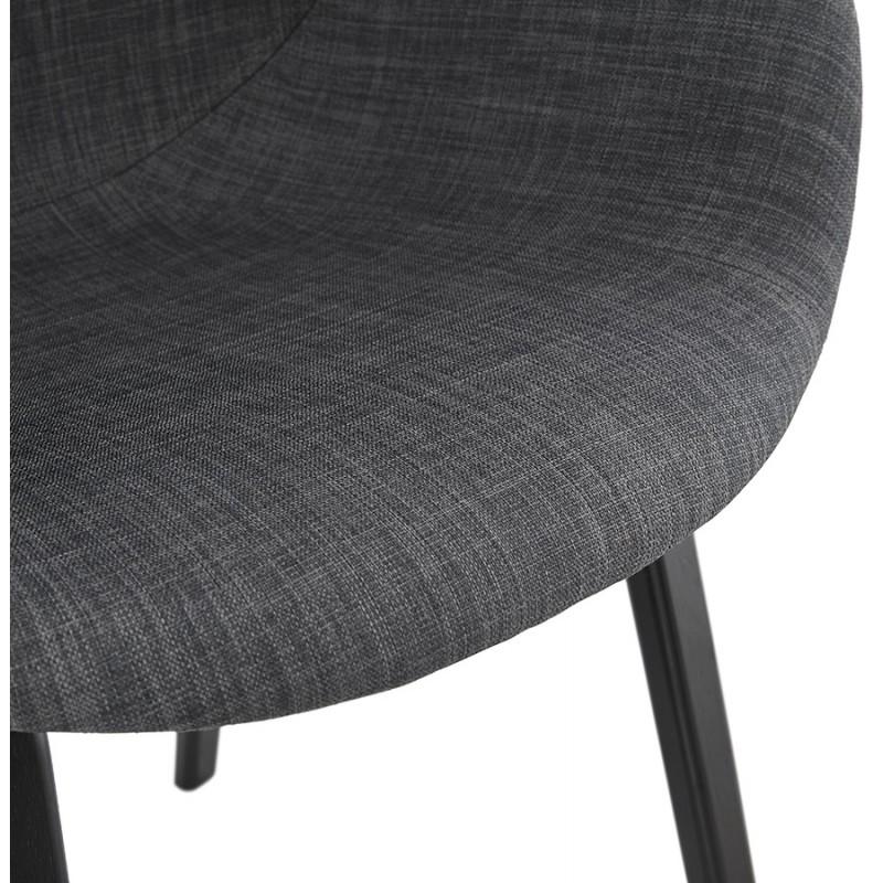 Chaise design scandinave avec accoudoirs CALLA en tissu pieds couleur noire (gris anthracite) - image 43128