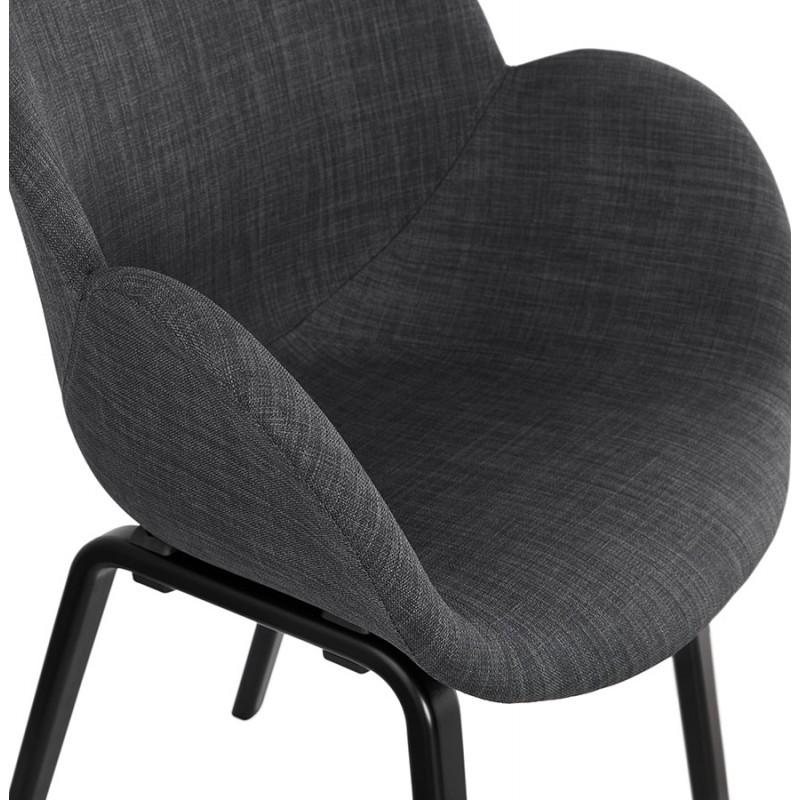 Chaise design scandinave avec accoudoirs CALLA en tissu pieds couleur noire (gris anthracite) - image 43129