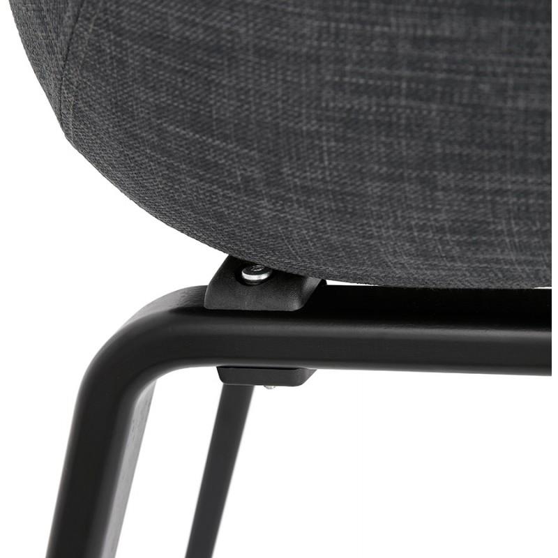 Chaise design scandinave avec accoudoirs CALLA en tissu pieds couleur noire (gris anthracite) - image 43131