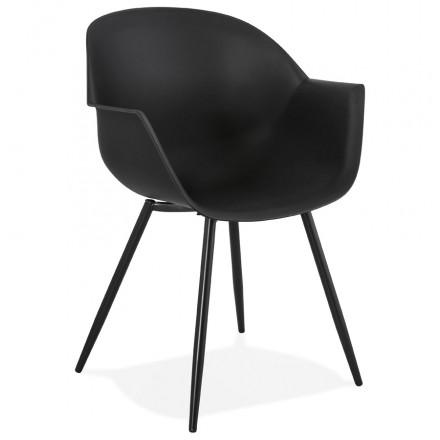 Silla de diseño escandinavo con apoyabrazos COLZA en polipropileno (negro)