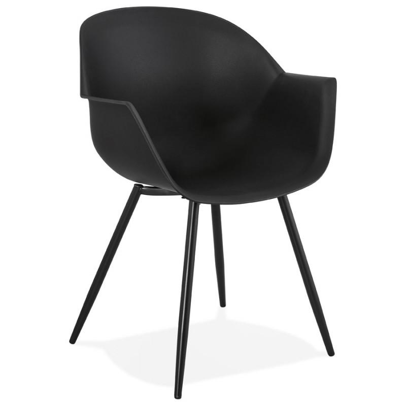 Chaise design scandinave avec accoudoirs COLZA en polypropylène (noir) - image 43150