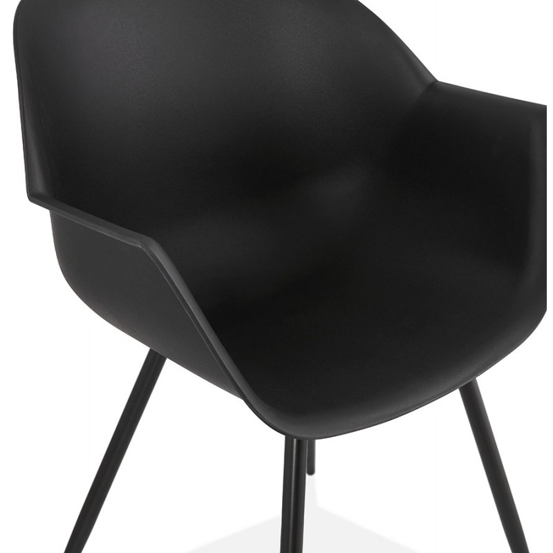 Chaise design scandinave avec accoudoirs COLZA en polypropylène (noir) - image 43156