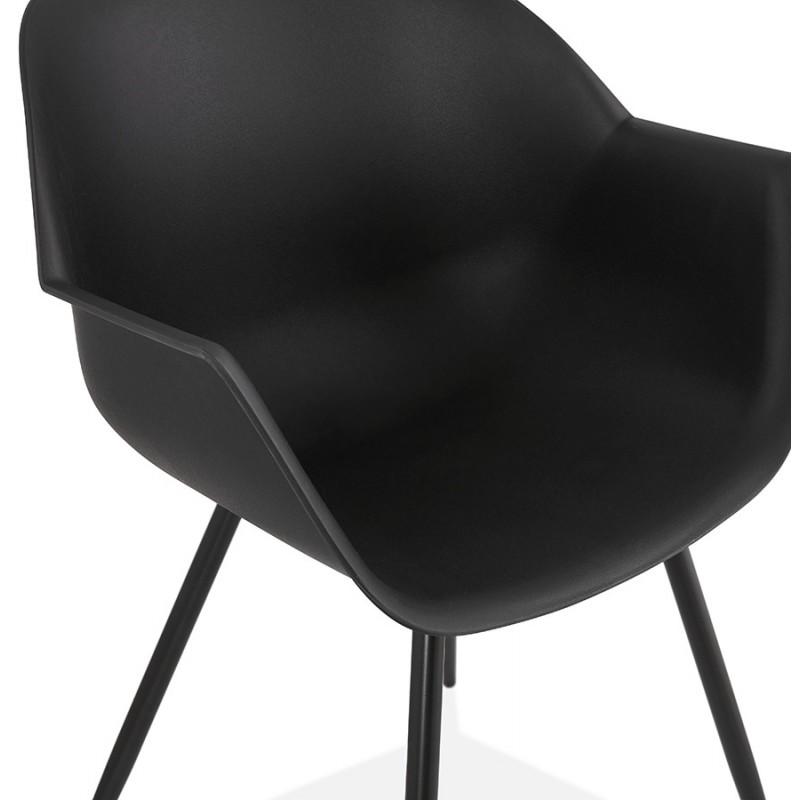 Sedia di design scandinava con braccioli COLZA in polipropilene (nero) - image 43156