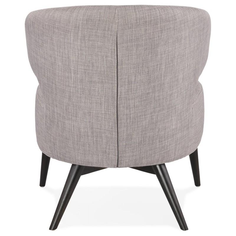 Fauteuil design YASUO en tissu pieds bois couleur noire (gris clair) - image 43167