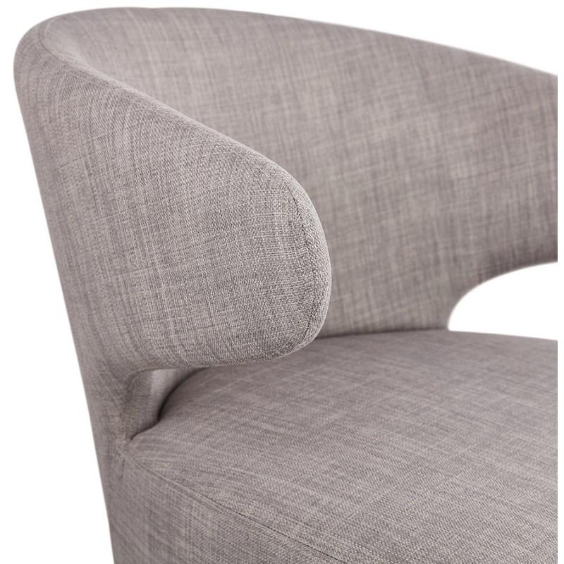 Fauteuil design YASUO en tissu pieds bois couleur noire (gris clair) - image 43169