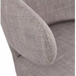 Fauteuil design YASUO en tissu pieds bois couleur noire (gris clair)
