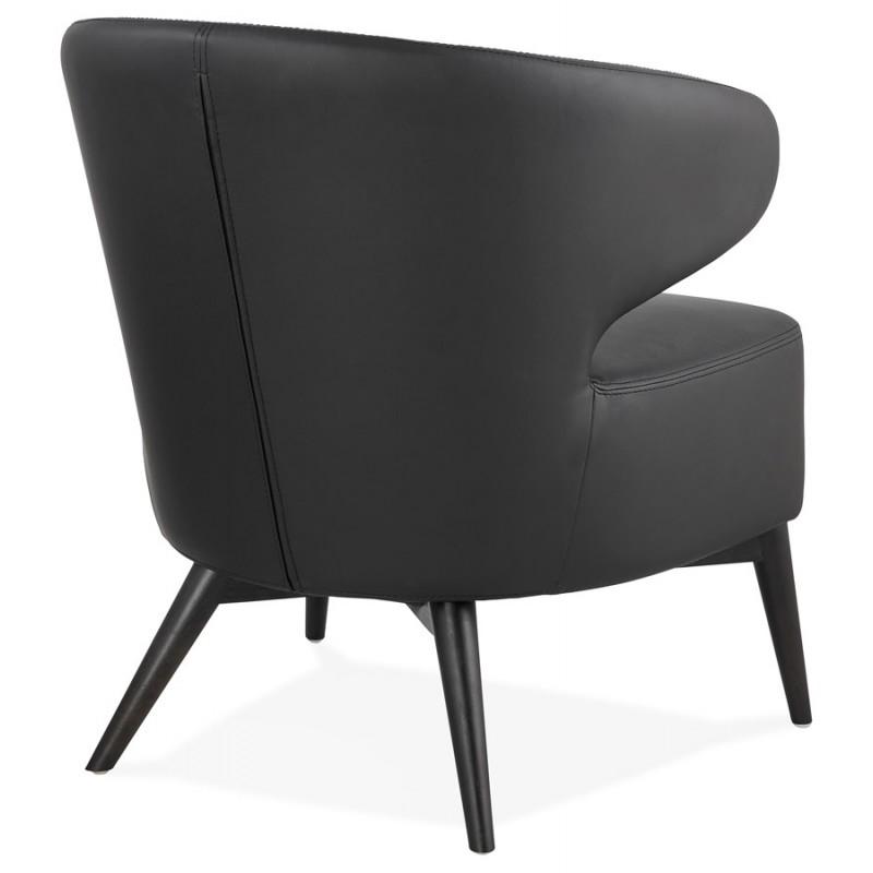 Fauteuil design  YASUO en polyuréthane pieds bois couleur noire (noir) - image 43178