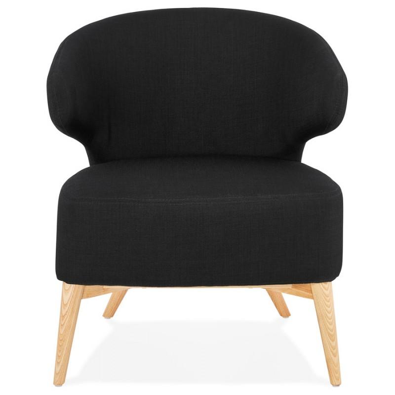Silla de diseño YASUO en tejido de calzado de madera de color natural (negro) - image 43188