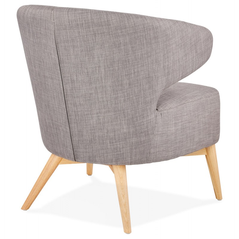 YASUO design chair in natural-coloured wooden foot fabric (light grey) - image 43203