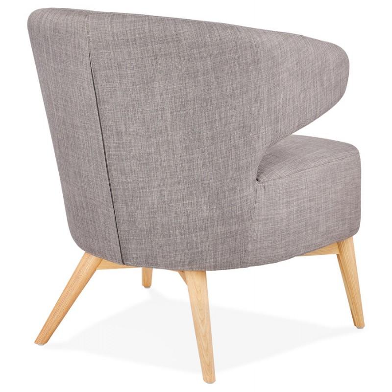 Fauteuil design YASUO en tissu pieds bois couleur naturelle (gris clair) - image 43203