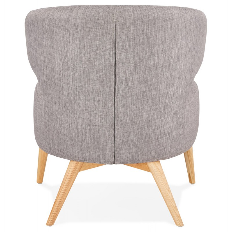 YASUO design chair in natural-coloured wooden foot fabric (light grey) - image 43204
