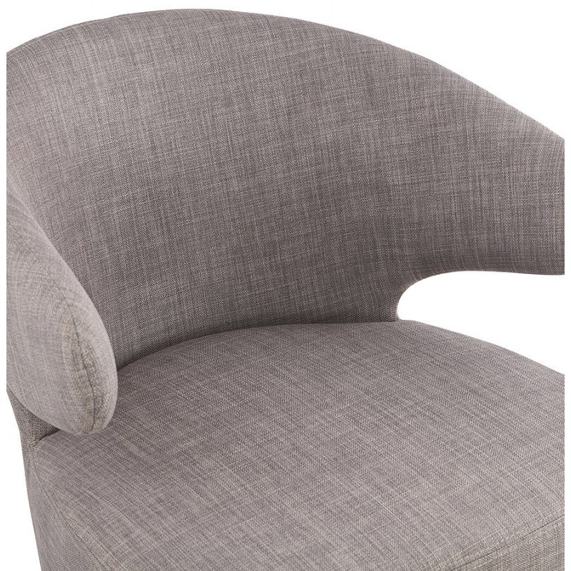 YASUO design chair in natural-coloured wooden foot fabric (light grey) - image 43205