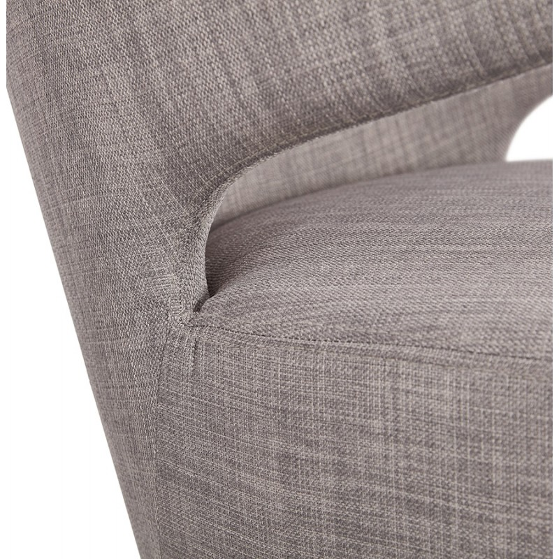 YASUO design chair in natural-coloured wooden foot fabric (light grey) - image 43208