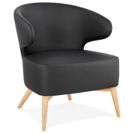 YASUO Designstuhl aus Polyurethan Füße Holz natürliche Farbe (schwarz)