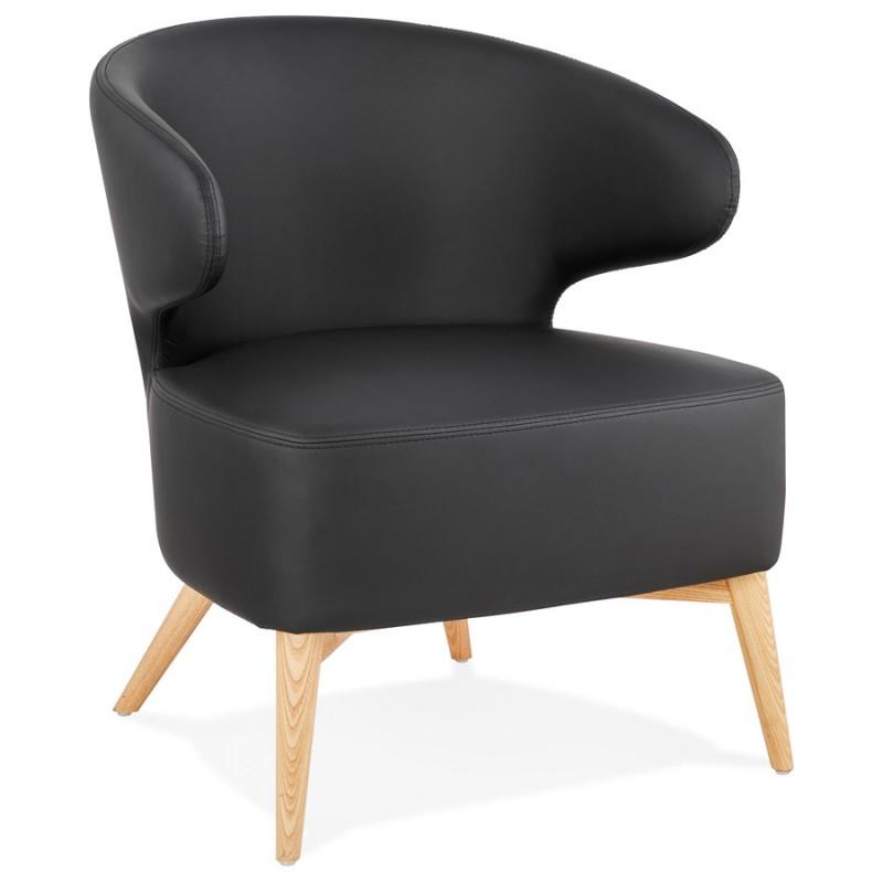 Fauteuil design YASUO en polyuréthane pieds bois couleur naturelle (noir)