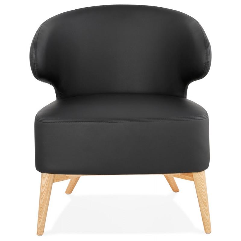Fauteuil design YASUO en polyuréthane pieds bois couleur naturelle (noir) - image 43212