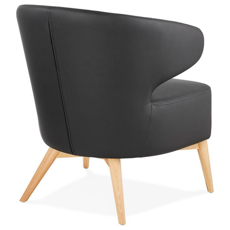 Fauteuil design YASUO en polyuréthane pieds bois couleur naturelle (noir) - image 43214